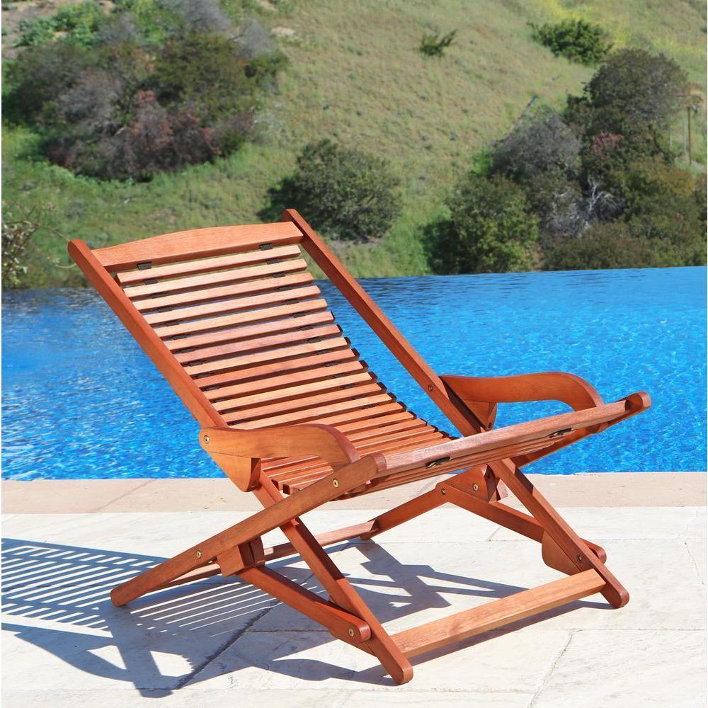 Wonderful Vifah Roch Eucalyptus Folding Patio Lounge Chair A3458.157.5.11   The Home  Depot