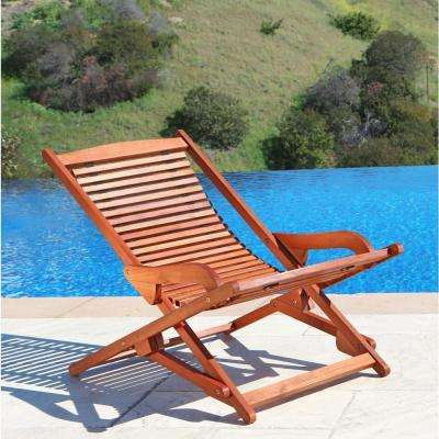 Roch Eucalyptus Folding Patio Lounge Chair