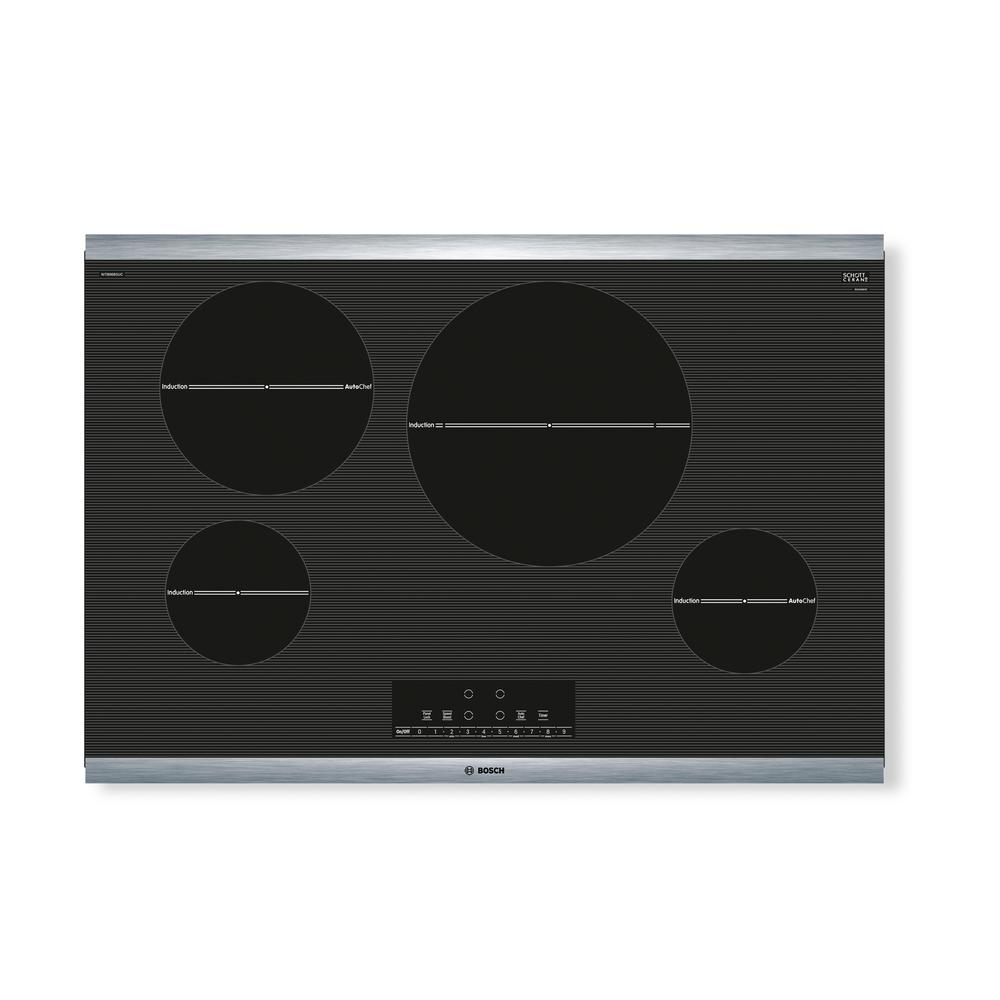 800 Series 30 in. Induction Cooktop in Black with Stainless Steel
