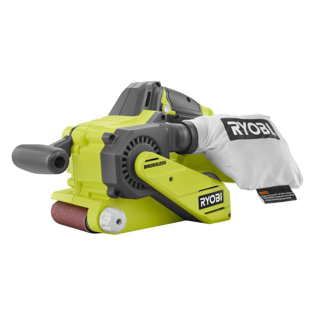 Ryobi 18-Volt ONE+ Cordless Brushless 3 in. x 18 in. Belt Sander (Tool Only) with Dust Bag and (1) 80-Grit Sanding Belt