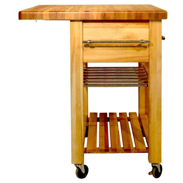 Natural Wood Kitchen Cart with Wine Rack