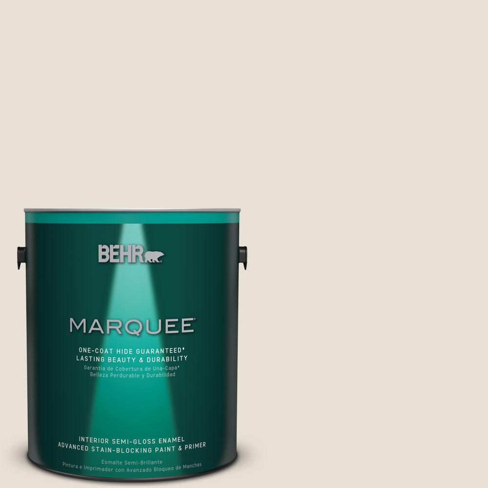 1 gal. #MQ3-13 Crisp Linen Semi-Gloss Enamel One-Coat Hide Interior Paint