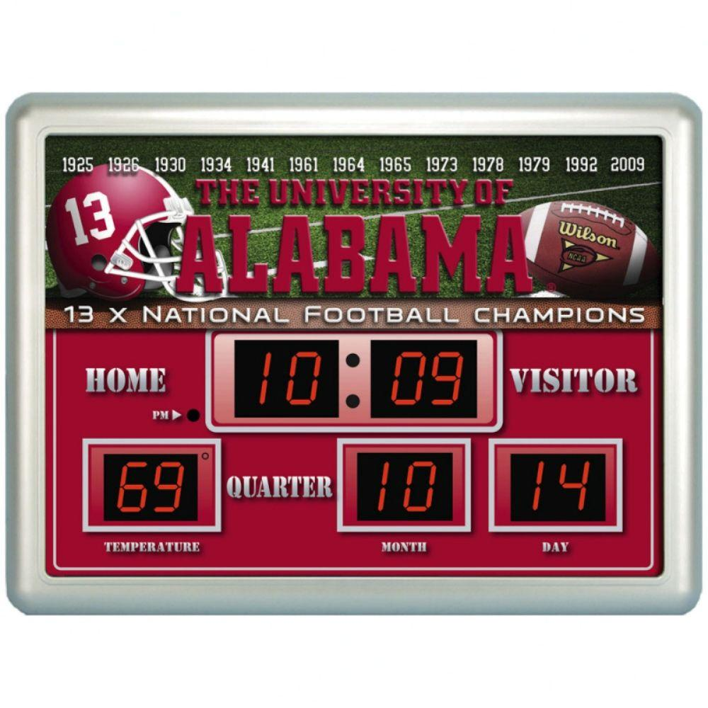 null University of Alabama 14 in. x 19 in. Scoreboard Clock with Temperature