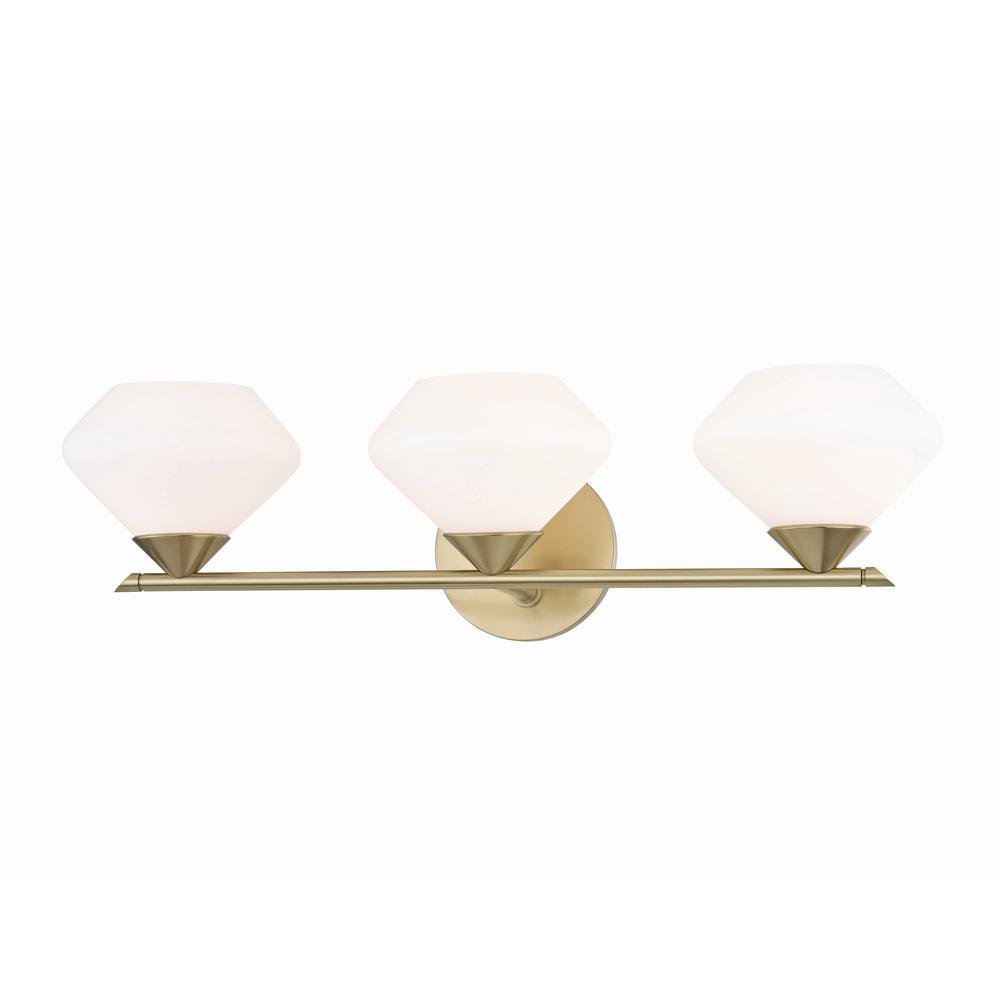 Valerie 3-Light Aged Brass Bath Light with Opal Matte Glass Shade