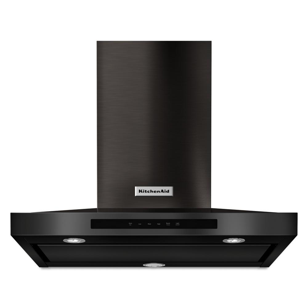 KitchenAid 30 in. 600 CFM Convertible Wall Mount Range Hood in PrintShield Black Stainless