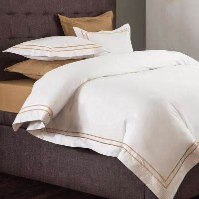 Lucas White and Champagne Queen Duvet Set