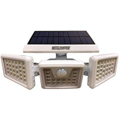 White Solar Powered Motion Activated Outdoor Integrated LED Area Spotlight with Daylight Sensor and 3 Adjustable Lamps