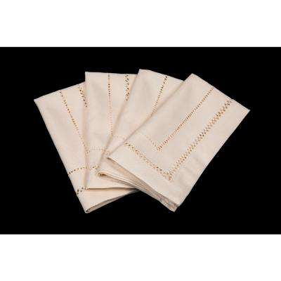 20 in. x 20 in. Handmade Double Hemstitch Easy Care Napkin in Ivory (4-Set)