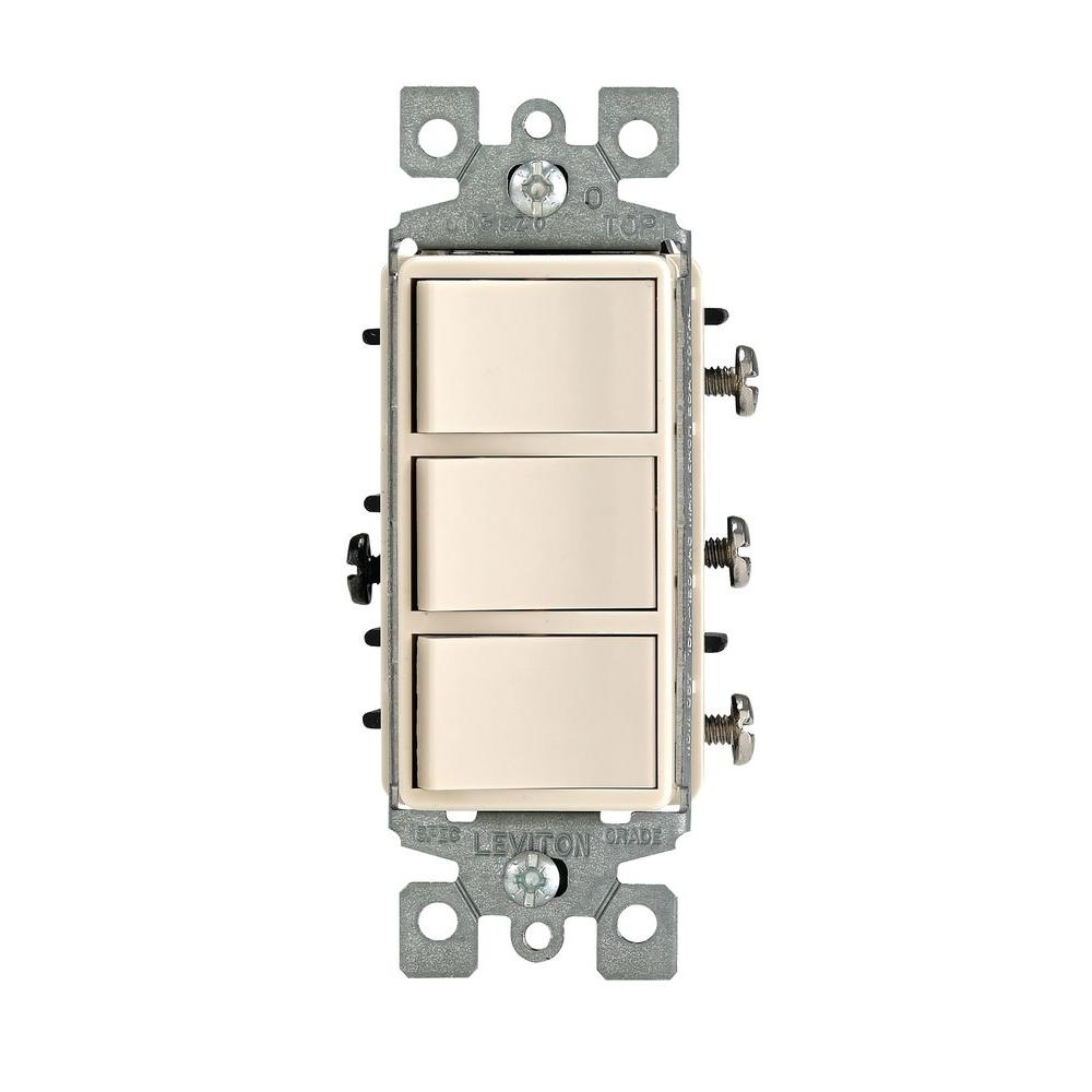 leviton decora 15 amp triple rocker combination switch light almond rh homedepot com