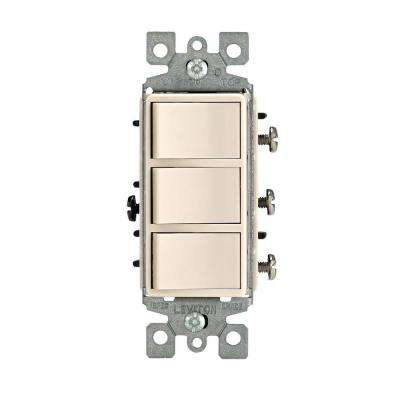 Decora 15 Amp Triple-Rocker Combination Switch, Light Almond