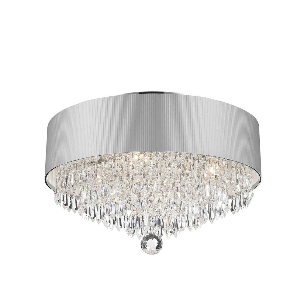 Worldwide Lighting Gatsby Collection 4 Light Chrome Crystal With White Acrylic Shade Flush Mount