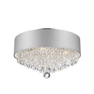 Gatsby Collection 4-Light Chrome Crystal with White Acrylic Shade Flush Mount