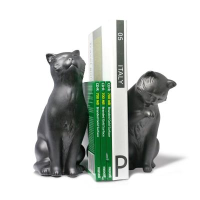 Black Resin Cat Animals Bookends (Set of 2)