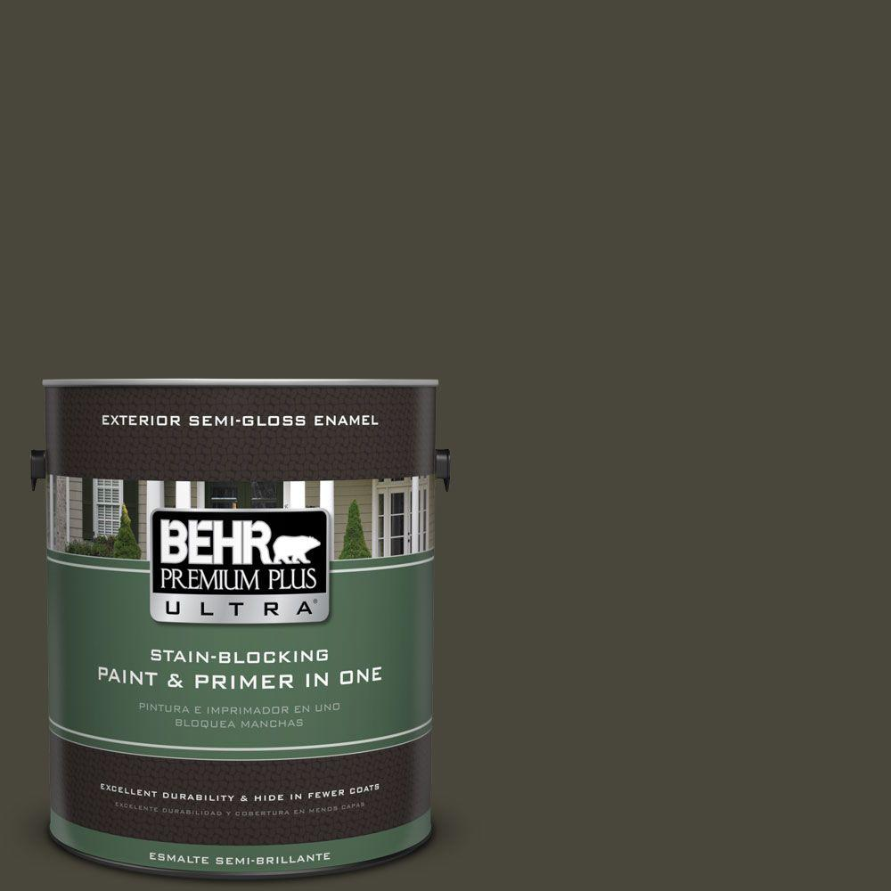 1 gal. #T16-01 Black Pearl Semi-Gloss Enamel Exterior Paint