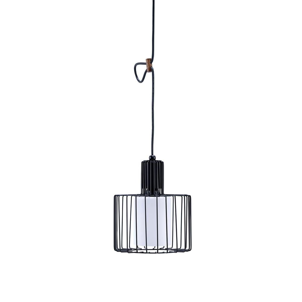 Ore International 1 Light Black Wire Cage Barnyard Frosted Shade Ceiling Pendant