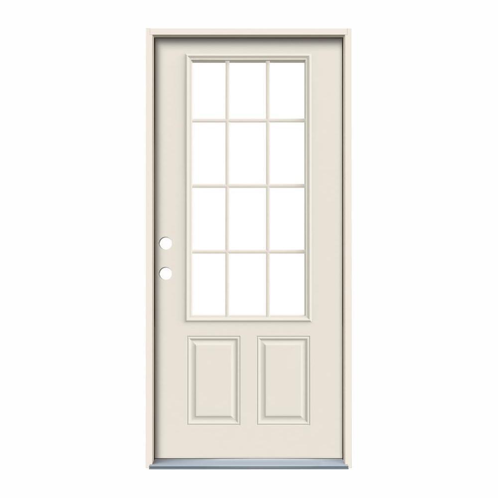 JELD-WEN 32 in. x 80 in. 12 Lite Primed Steel Prehung Right-Hand Inswing Front Door
