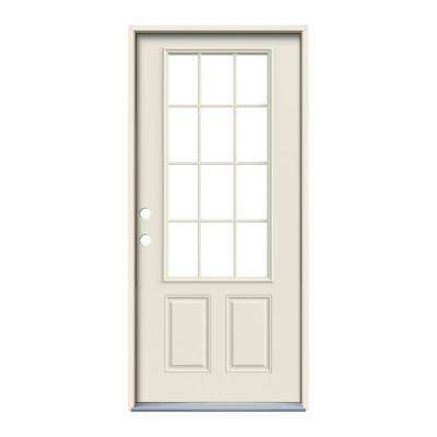 32 in. x 80 in. 12 Lite Primed Steel Prehung Right-Hand Inswing Back Door