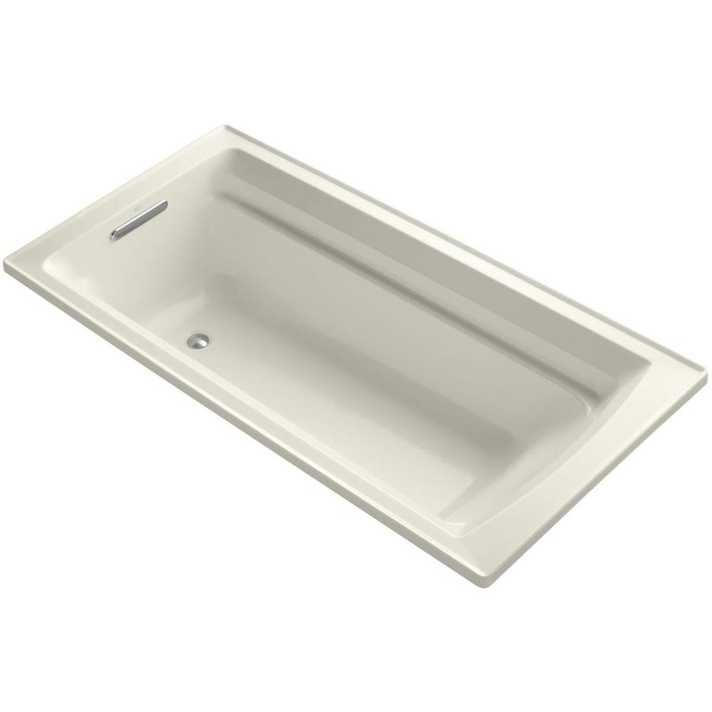 KOHLER Archer VibrAcoustic 6 ft. Reversible Drain Bathtub in Biscuit with Bask Heated Surface