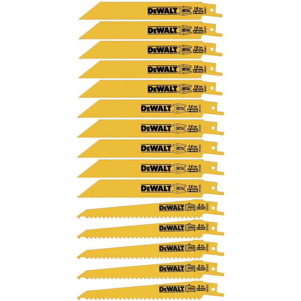 Bi-Metal Reciprocating Saw Blade Set (15-Piece) with Tough Case