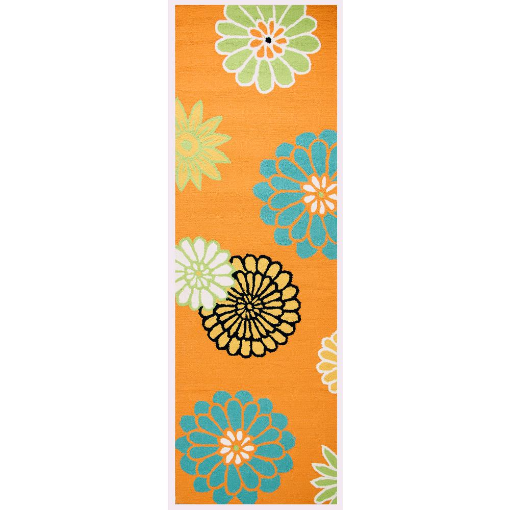 Azzura Hill Orange Floral 3 ft. x 8 ft. Outdoor Runner