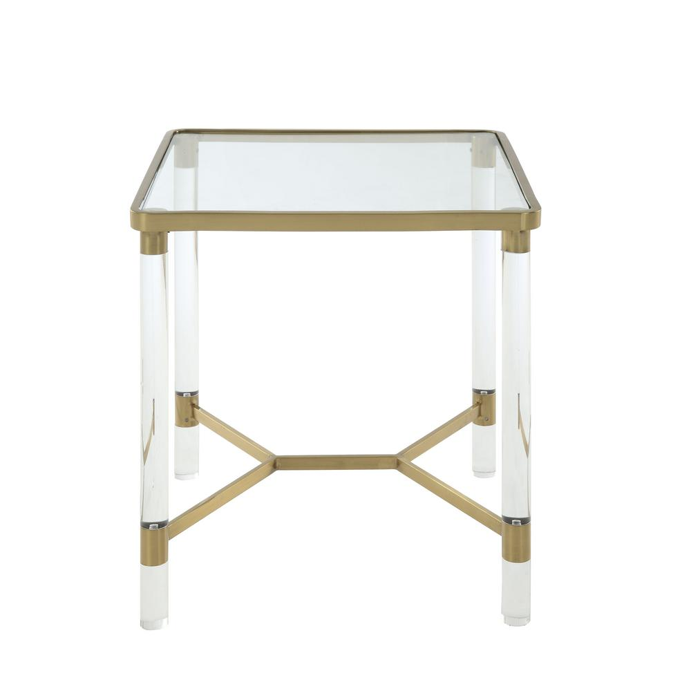Penstemon Clear Acrylic, Gold Stainless Steel and Clear Glass End Table