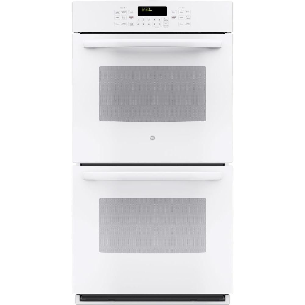 GE 27 in. Double Electric Wall Oven Self-Cleaning with Steam Plus Convection in White