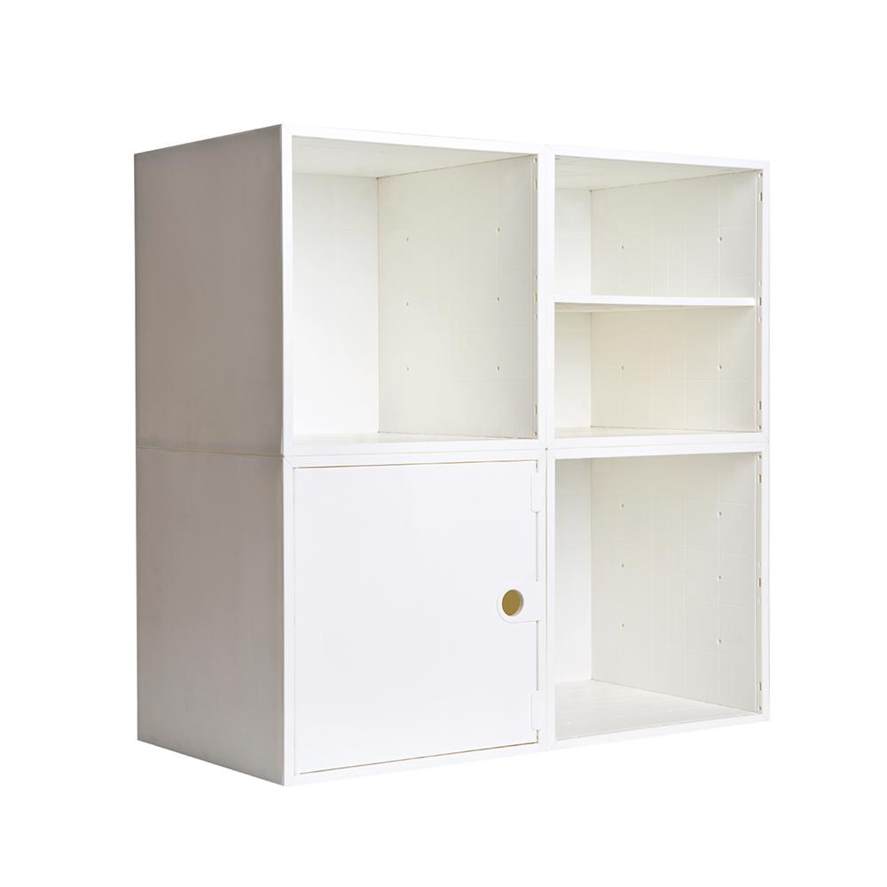 iCube 27.5 in. H x 27.5 in. W White Modular 4-Cube Organizer with ...