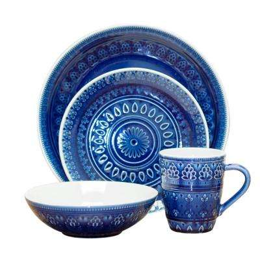 Fez 16-Piece Blue Dinnerware Set