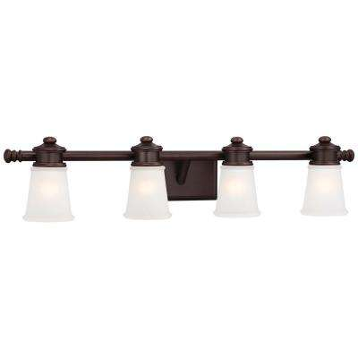 4-Light Dark Brushed Bronze with Etched White Glass Vanity Light