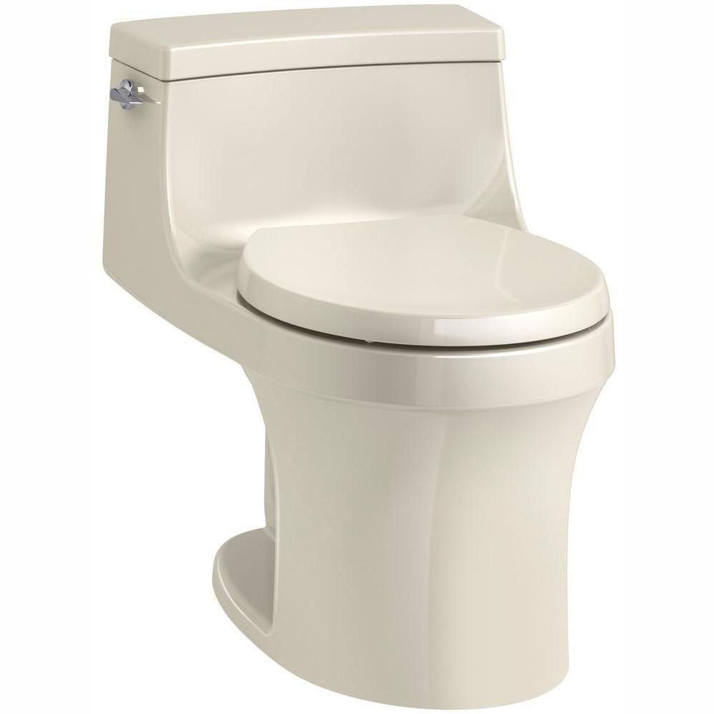 San Souci 1-piece 1.28 GPF Single Flush Round Toilet in Almond