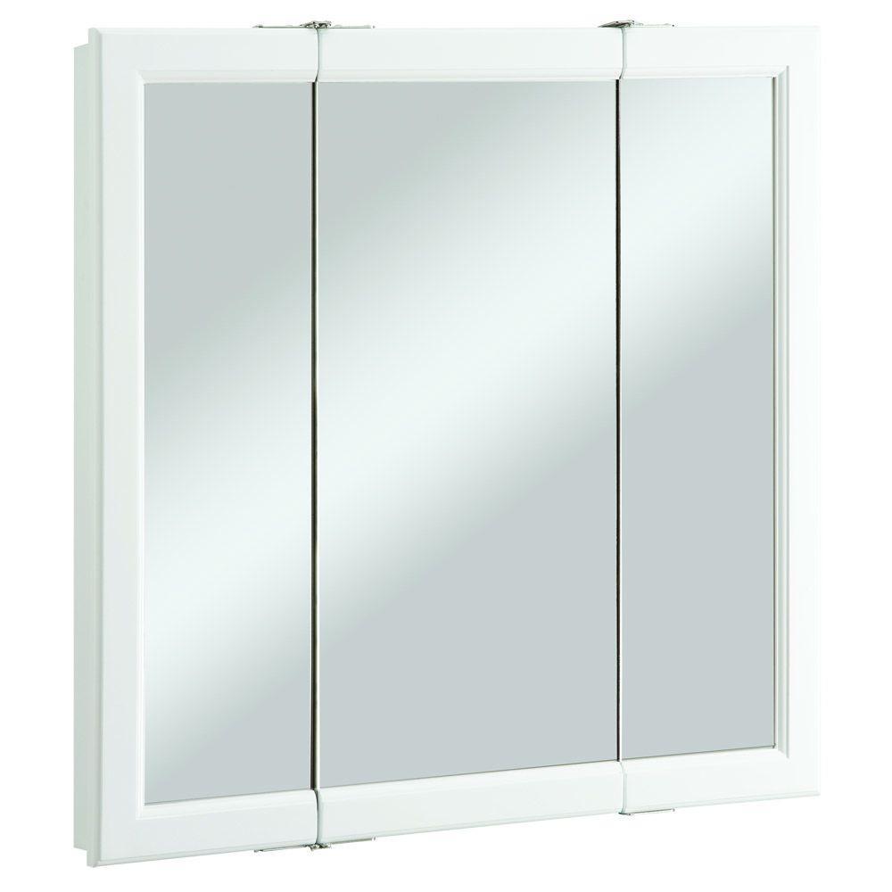 Wyndham 30 in. W x 30 in. H x 4-3/4 in. D Tri-View Bathroom Medicine Cabinet in White Semi-Gloss