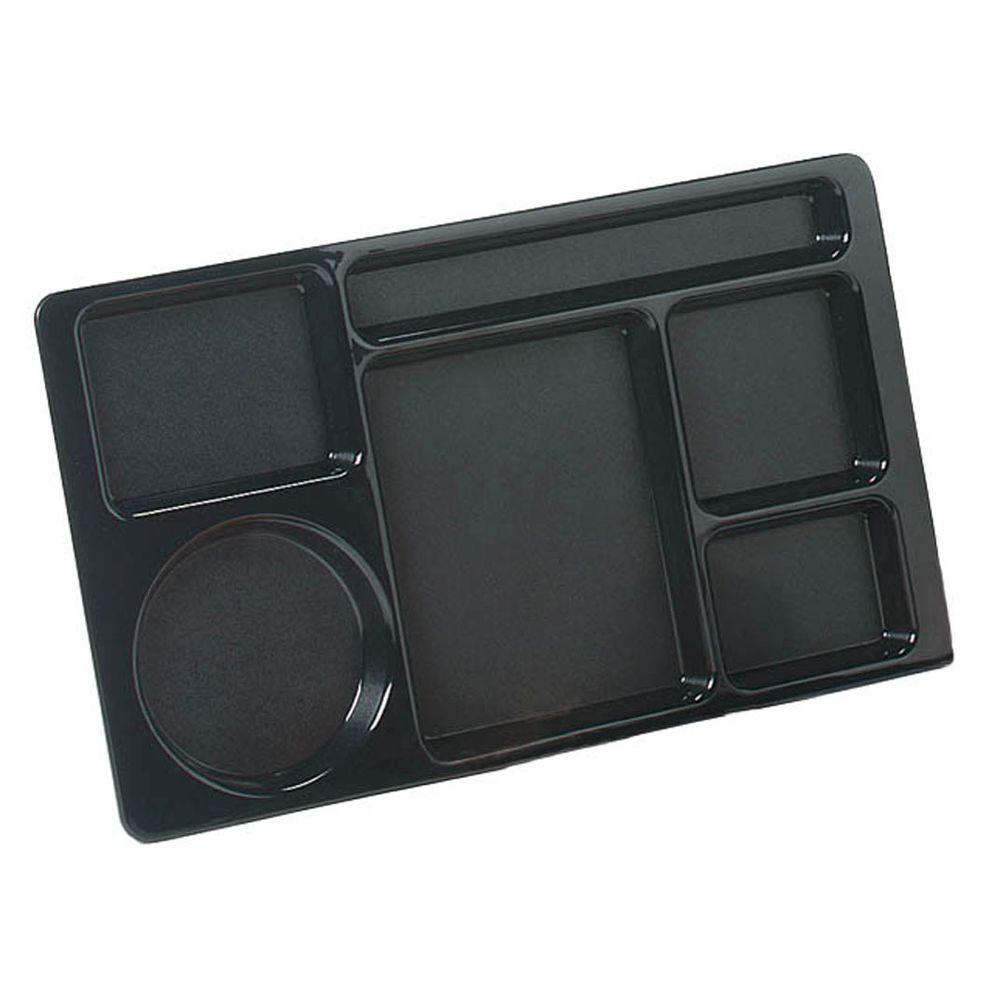 15x9 in. ABC Plastic Omnidirectional Space Saver 6-Compartment Tray in Black