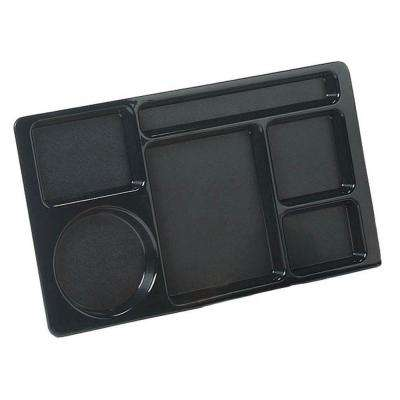 15x9 in. ABC Plastic Omnidirectional Space Saver 6-Compartment Tray in Black (Case of 24)