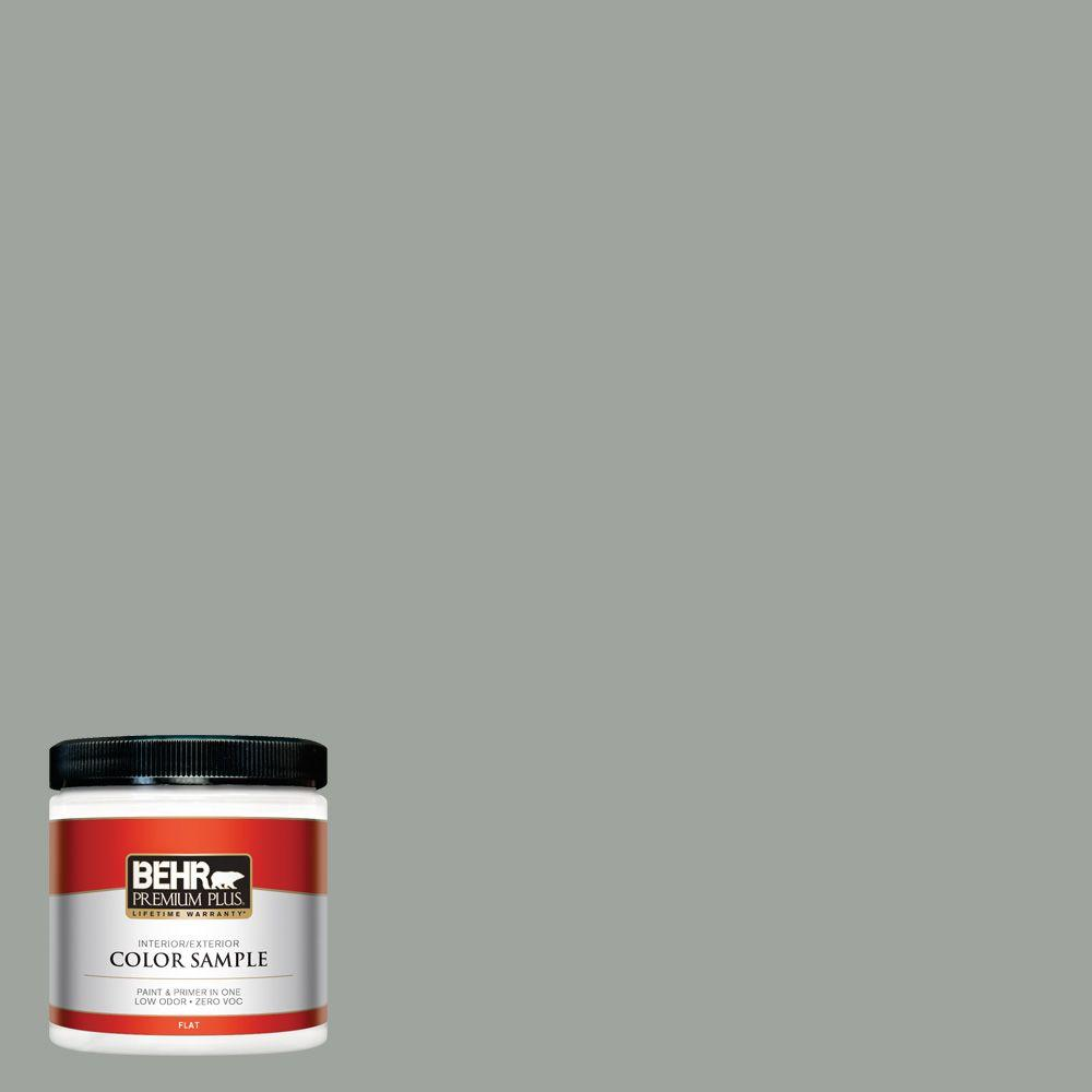 8 oz. #710F-4 Sage Gray Flat Interior/Exterior Paint and Primer in