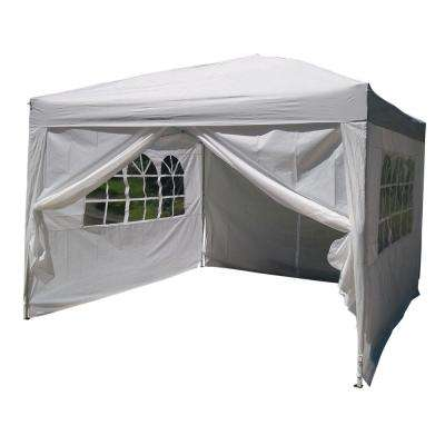9.8 ft. x 9.8 ft. 2-Doors and 2-Windows Practical Waterproof Folding Shed Plastic Tent White