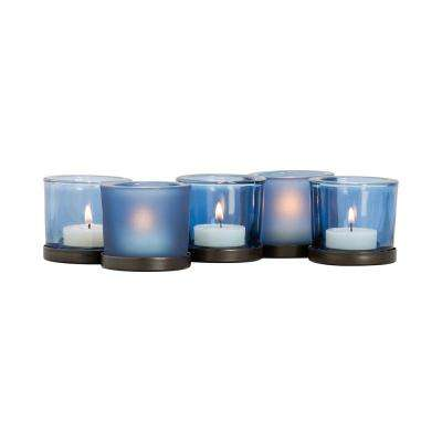 Centre 3 in. x 6 in. Rustic Iron and Denim Glass Candle Holder