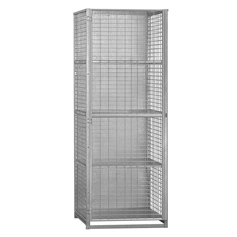 Salsbury Industries 8500 Series 30 in. W x 80 in. H x 30 in. D 4-Compartment Security Storage Locker Unassembled in Aluminum
