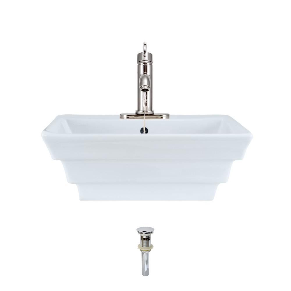 MR Direct Porcelain Vessel Sink in White with 753 Faucet and Pop-Up Drain in Chrome