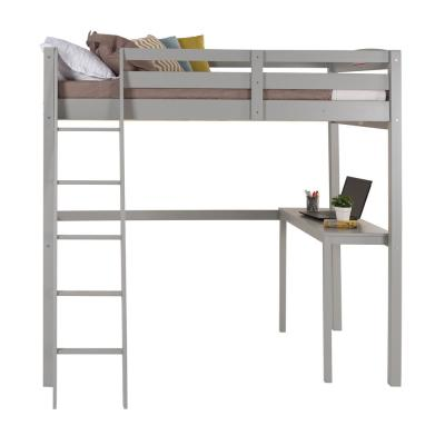 Concord Grey Twin Size High Loft Bed with Desk