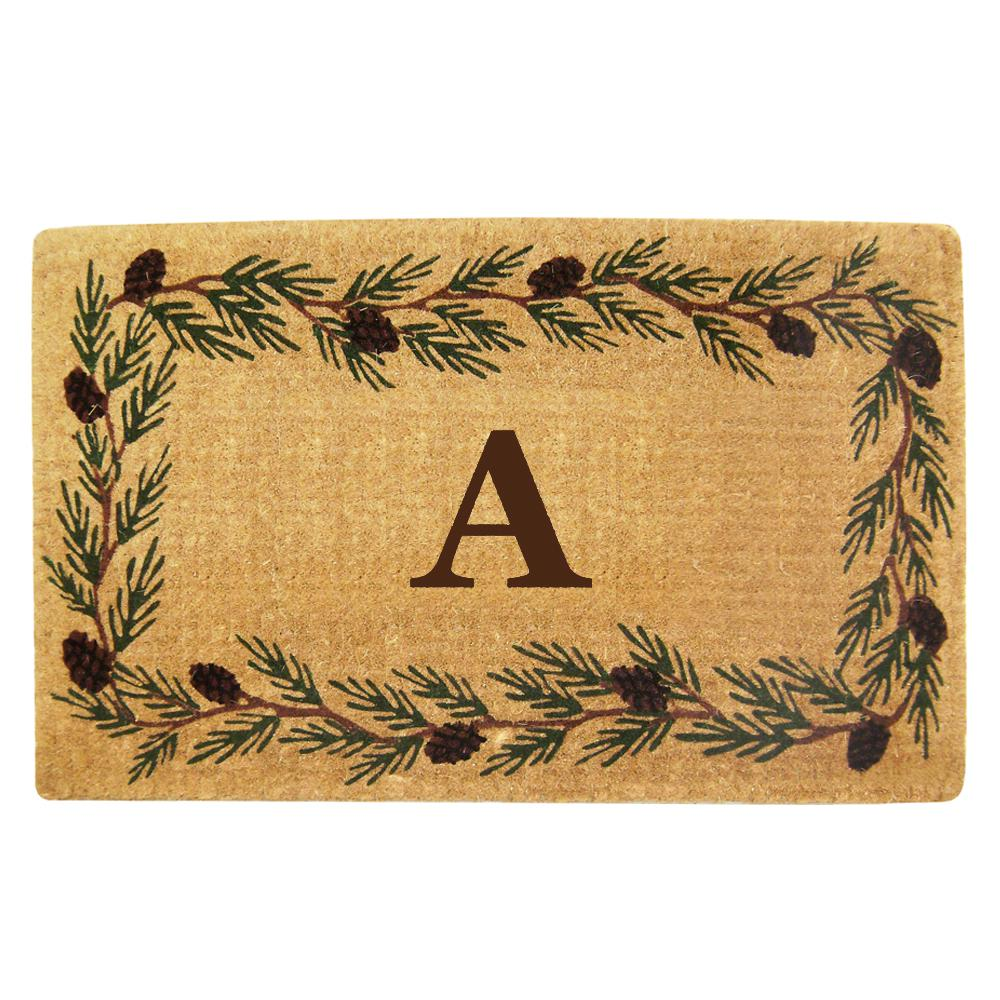 Evergreen 22 in. x 36 in. Heavy Duty Coir Monogrammed A