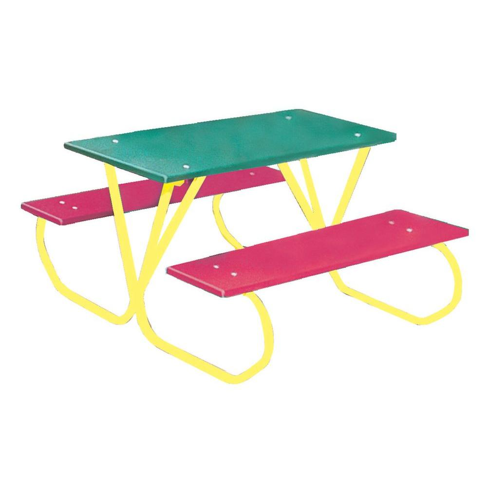 Ultra Play 3 ft. Polyethylene Green Commercial Park Portable Tabletop Preschool Table with Red Seats