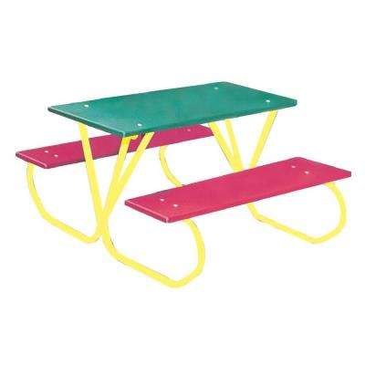 3 ft. Polyethylene Green Commercial Park Portable Tabletop Preschool Table with Red Seats