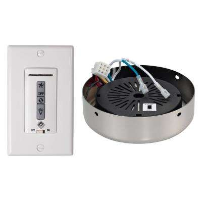 White and Almond Hardwired Ceiling Fan Wall Remote Control and Receiver with Polished Nickel Receiver Hub