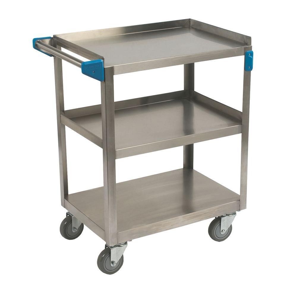 32.5 in. H x 18 in. W x 27 in. D Stainless Steel 3-Shelf Utility Cart