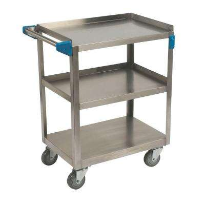 32.5 in. H x 18 in. W x 27 in. D Stainless Steel 3-Shelf Utility Cart