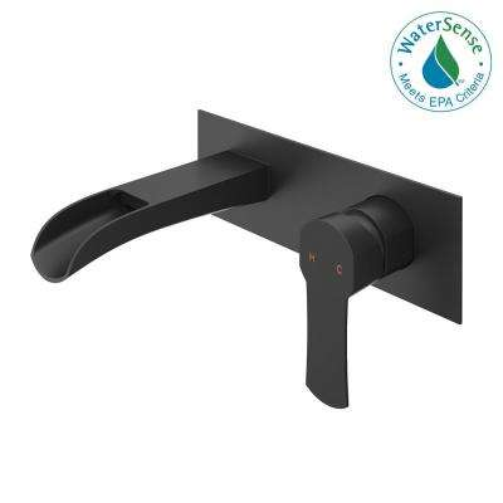 Cornelius Single-Handle Wall Mount Bathroom Faucet in Matte Black