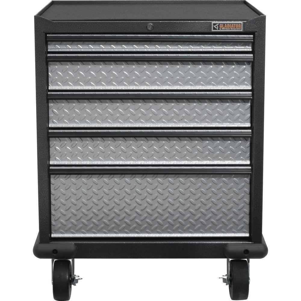 Premier Series Pre-Assembled 35 in. H x 28 in. W x 25 in. D Steel 5-Drawer Rolling Garage Cabinet in Silver Tread