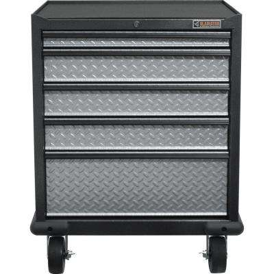 Premier Series Pre-Assembled 35 in. H x 28 in. W x 25 in. D Steel 5-Drawer Rolling Garage Cabinet in Silver Tread