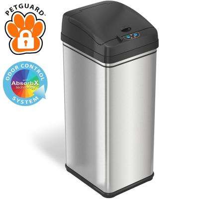 13 Gal. Stainless Steel Pet-Proof Sensor Trash Can with AbsorbX Odor Filter and PetGuard