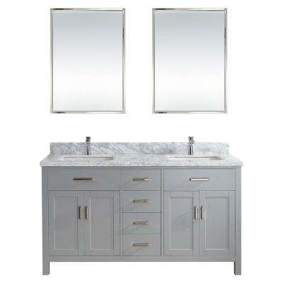 Kalize II 63 in. W x 22 in. D Vanity in Oxford Gray with Marble Vanity Top in Gray with White Basin and Mirror